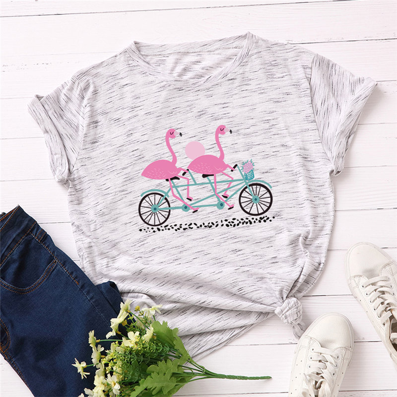 2019 Fashion Plus Size Women T-shirt 100% Cotton O-Neck Top Love Bicycle Printed Tees Good-quality Summer Female T Shirt S-5XL