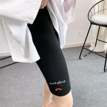 Leggings Mickey Sports-Pants Women's New Cartoon Embroidery Letter Girl High-Waist Cotton