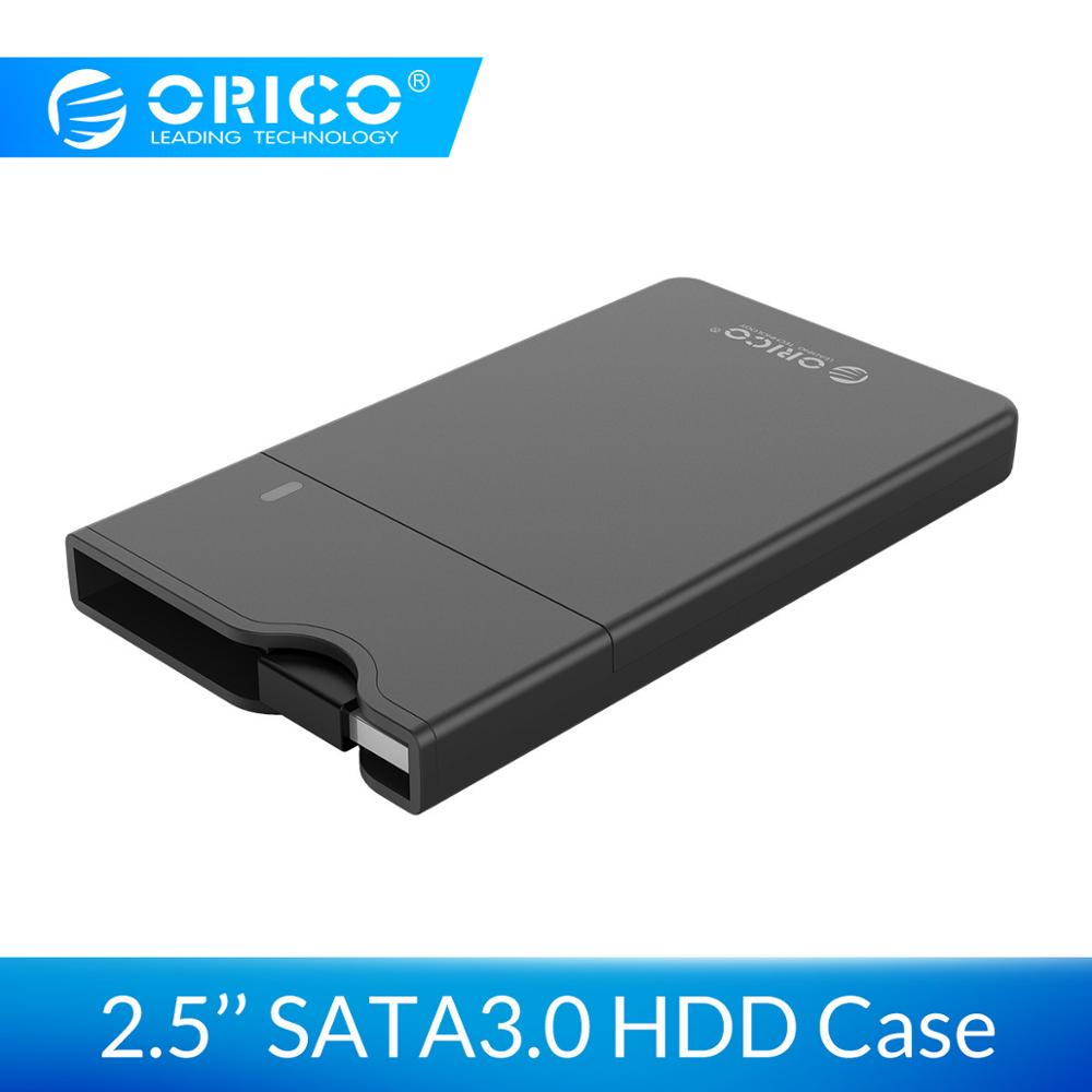 ORICO 2.5'' SATA 3.0 HDD Case USB 3.0 5Gbps HDD Enclosure Integrated Data Cable Support 4TB HDD SSD External Hard Disk Case