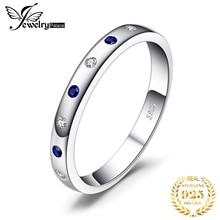 Jewelrypalace Gemaakt Blue Sapphire Ring 925 Sterling Zilveren Ringen Voor Vrouwen Trouwringen Eternity Band Zilver 925 Fijne Sieraden