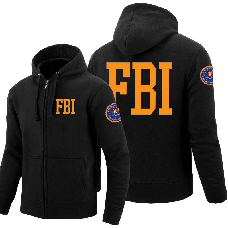 Men FBI Sweatshirts Print Federal Bureau Of Investigation Fleece Zipper Police Hoodies Cosplay Hoody Winter Clothes Women Tops