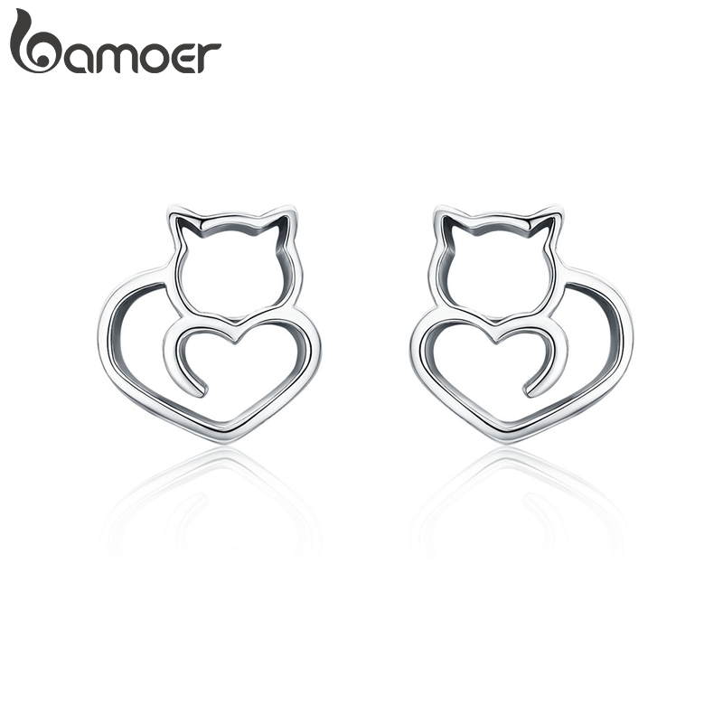 BAMOER Hot Sale Authentic 925 Sterling Silver Cute Cat Small Stud Earrings For Women Fashion Sterling Silver Jewelry SCE271
