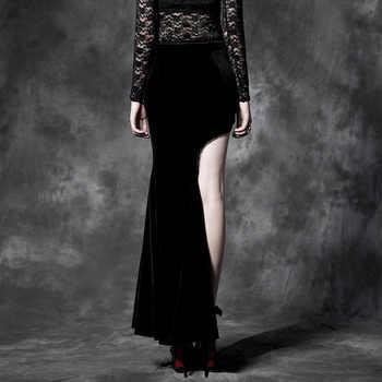 PUNK RAVE Gothic Style Sexy Split Black Asymmetric Punk Cheongsam Velvet Embroidery Long Maxi Skirt