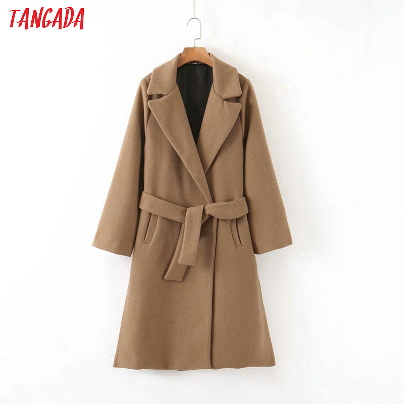 Tangada Women Solid Thick Coats Jacket With Blet Long Sleeves Pocket Office Ladies Elegant Autumn Winter Coat 3Z78