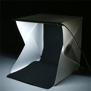 """Image 3 - Mini caja de luz plegable de 24cm / 9 """"para estudio de fotografía, caja de luz LED suave para habitación, caja de fondo de foto de cámara, Kit de tienda de iluminación"""