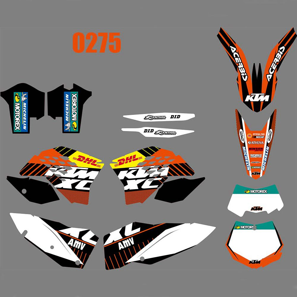 For <font><b>KTM</b></font> EXC XCF 125 250 450 530 <font><b>2008</b></font> 2009 2010 2011 New Full Graphics <font><b>Decals</b></font> Stickers Custom Number Name Glossy Bright Stickers image