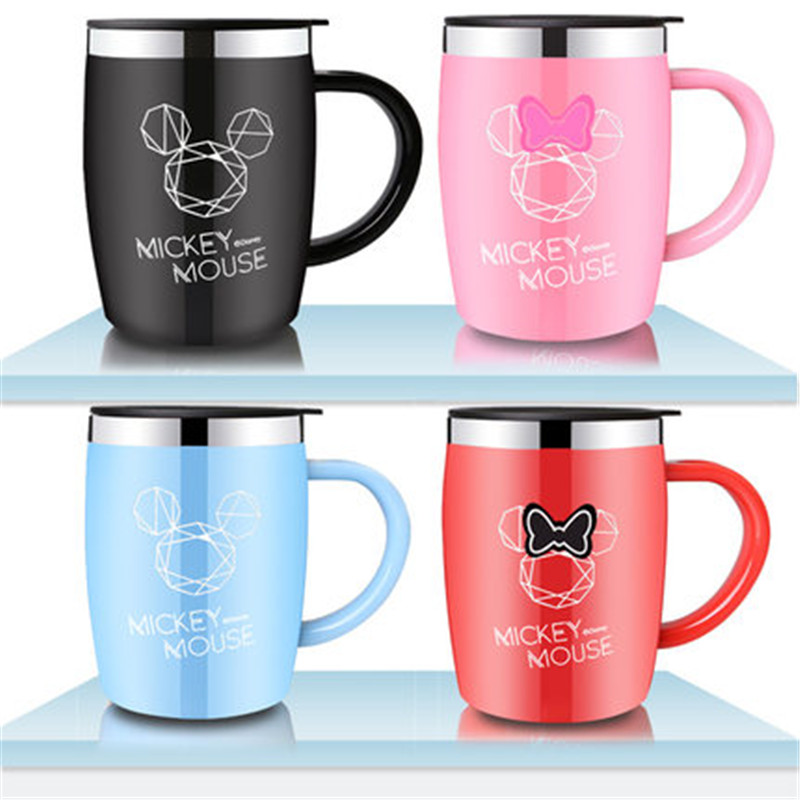 420mL Disney Mickey Mouse Water Cup Home Office Coffee Milk Mug 316 Stainless Steel Insulation Cup With Lid Handle Children Gift