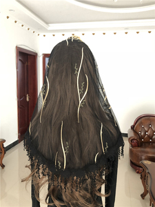 Image 5 - נשים של קתולית רעלה כיסוי ראש ירושלים המוסלמי אלגנטי צעיף צעיף כנסיית קפלת Voiles Dentelle Velas Negra מטפחות שחור