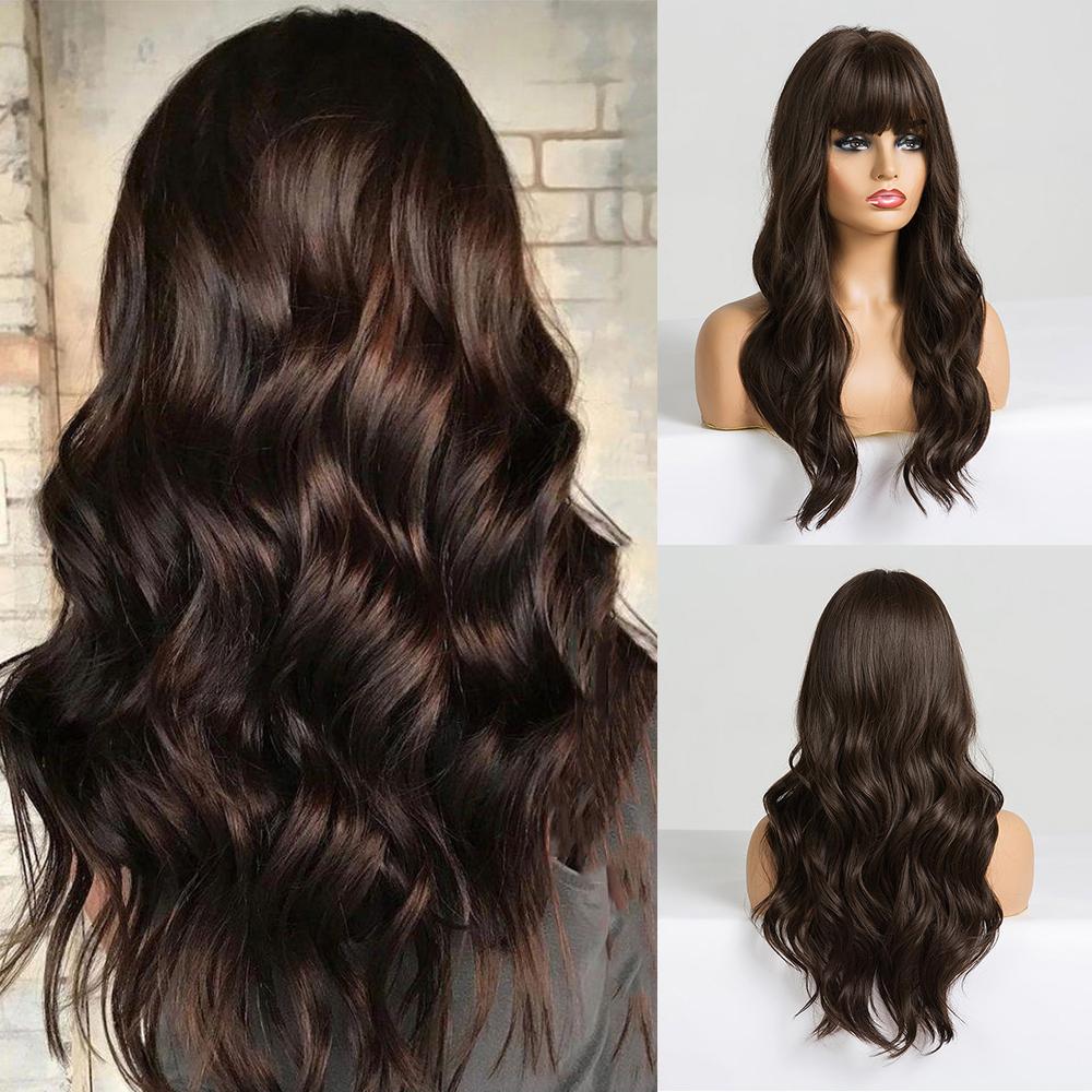 EASIHAIR Long Dark Brown Women\'s Wigs with Bangs Water Wave Heat Resistant Synthetic Wigs for Black Women African American Hair