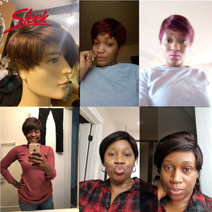 Image 3 - Perruque complète Machine pour femmes noires, perruque brésilienne complète Remy rapide, cheveux humains courts, brun, 100%, perruque coupe Pixie, bon marché