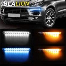 Luces de circulación diurna para coche, 2 uds., tira LED Flexible DRL 12V, 25cm 32cm, impermeable, Streamer, luz blanca y azul, señal de giro