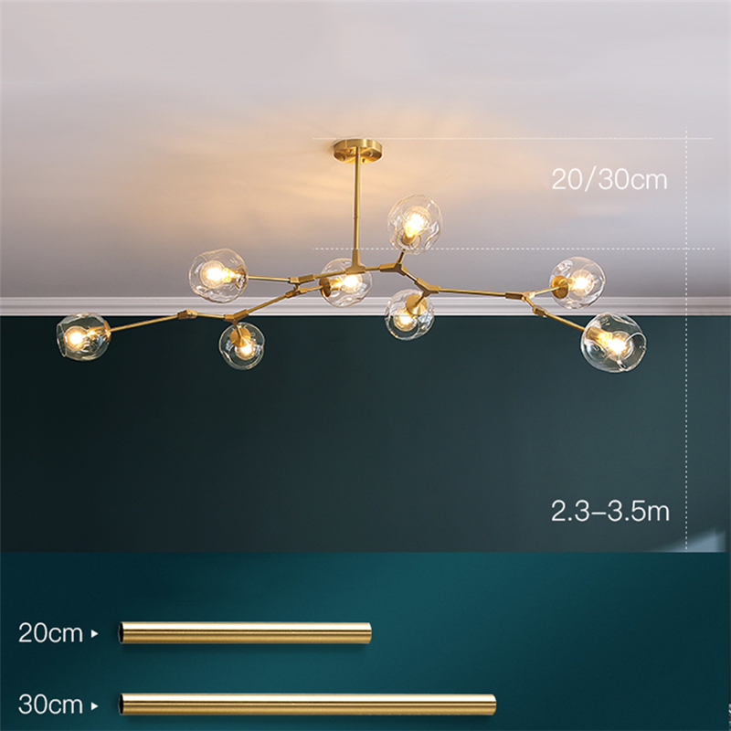 Modern LED Chandelier Lighting Glass Lustre LOFT Dining Bedroom Bedroom Ball chandeliers Kitchen Fixtures Luminaire pendant lamp 5