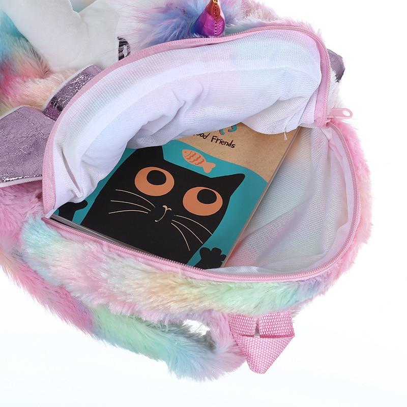 Baby Girl Unicorn Fur Backpack Cute Children Zipper Schoolbag Mini Kid Toy Doll Backpack For Kidergarten New Girl Plush Doll Bag 4