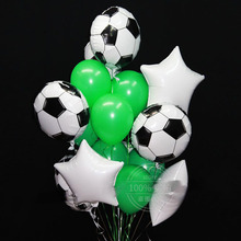 Round Balloons Party-Decor Silver Green Sports Confetti Latex Boy Birthday Meet Soccer-Theme