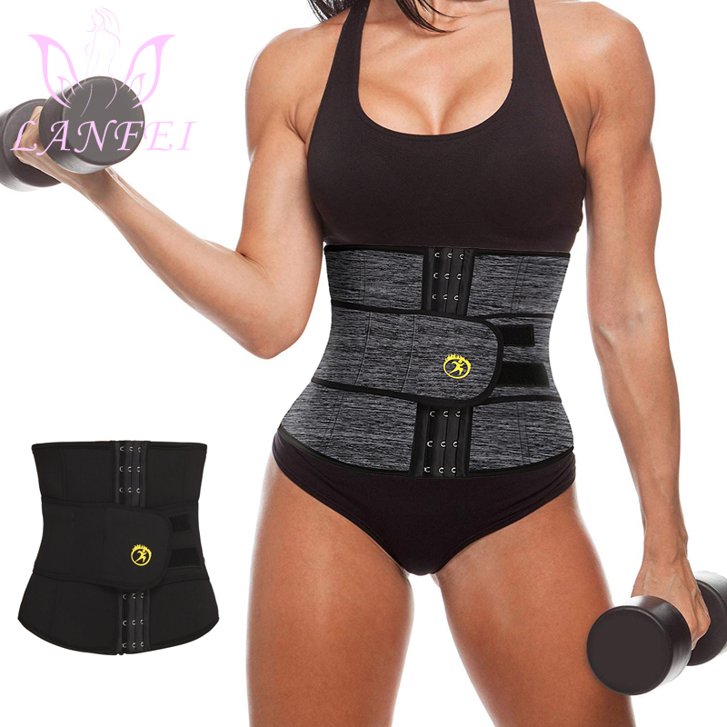 LANFEI Neoprene Sweat Waist Trainer Belt Women Weight Lose Body Shaper Sauna Slimming Strap Tummy Control Fat Burn Girdle Corset