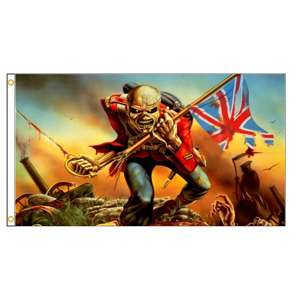 90x150cm Heavy Metal Gift Flag Skull Skeleton Soldier England Banner