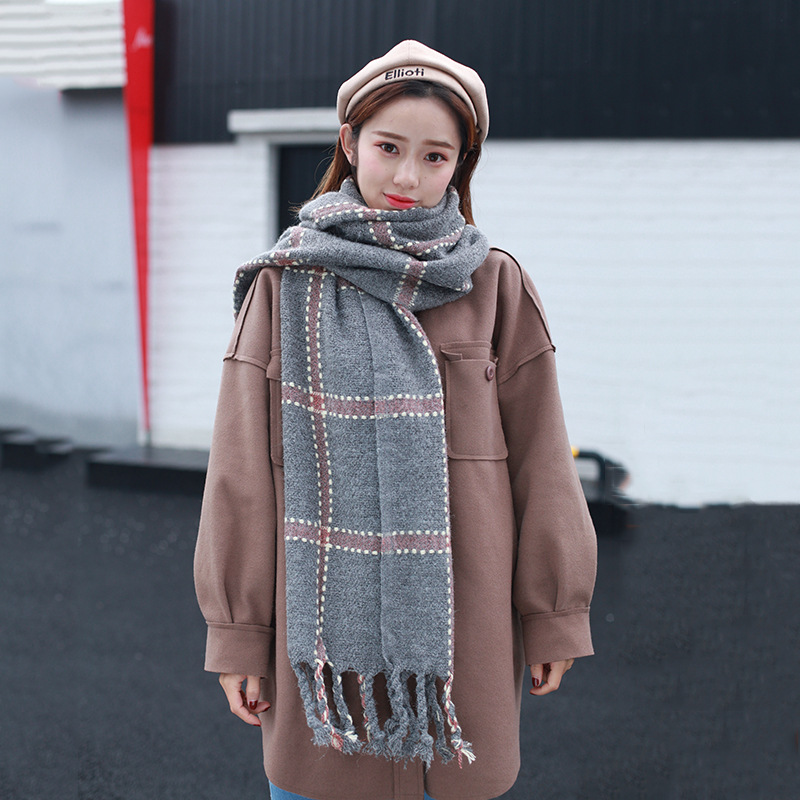 Tassels Shawl Autumn And Winter Hot Selling Linen Flower Color Long Thick COUPLE'S New Style Rabbit Fur Plaid Scarf