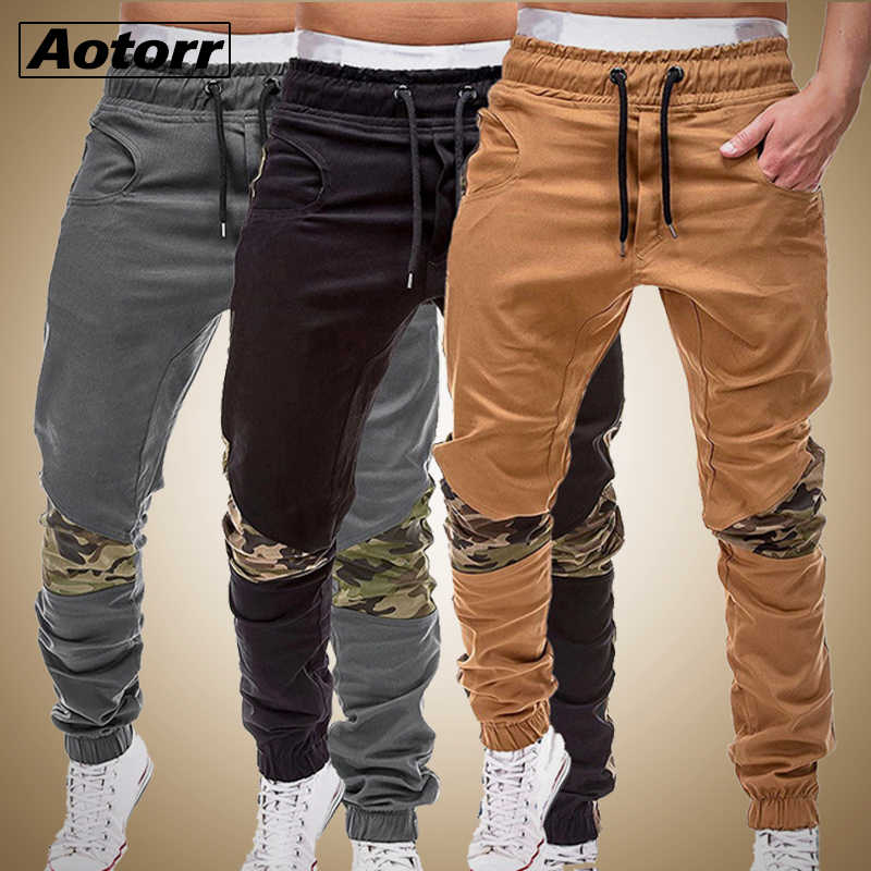2019 Autumn Cargo Pants Men Casual Military Sweatpants Patchwork Drawstring Trousers Army Joggers Pants Mens Sport Trousers