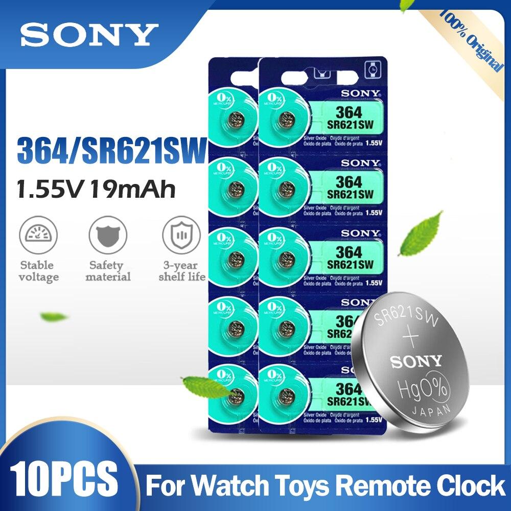 10 pces sony 364 sr621sw ag1 lr621 621 164 531 sr60 lr60 1.55v bateria de óxido prata para relógio de brinquedo calculadora medidor botão célula