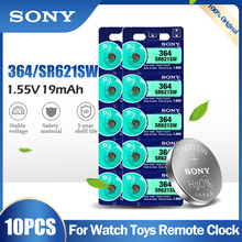 Lot de 10 batteries Sony 364, SR621SW, AG1, LR621, 621, 164, 531, SR60, LR60, 1.55V, pour montre, calculatrice, jouet, bouton