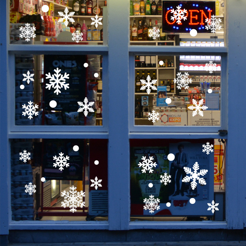 27Pcs//Lot Snowflake Window Stickers Christmas Wall Stickers Home Decals Decor