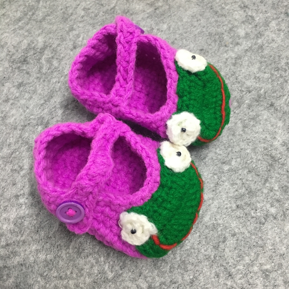 Baby Girls Shoes Cute Handmade Newborn Baby Infant Knitted Crocheted Toddler Flower Decorating First Walkers