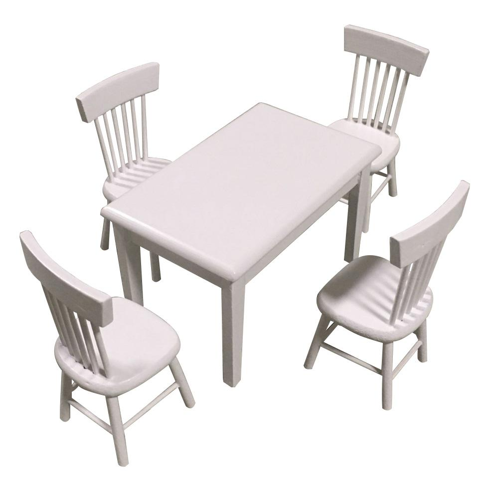 5Pcs/Set 1/12 Doll House Mini Furniture Dining Table Chair Set Toy Model Decor For Children's Birthday Gift