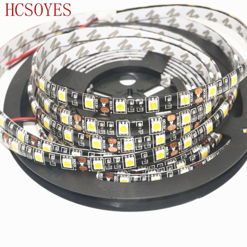 5m/roll 300LED 5050 Black PCB Waterproof IP65 LED strip DC12V 60leds/m Warm white/White/RGB led strip light