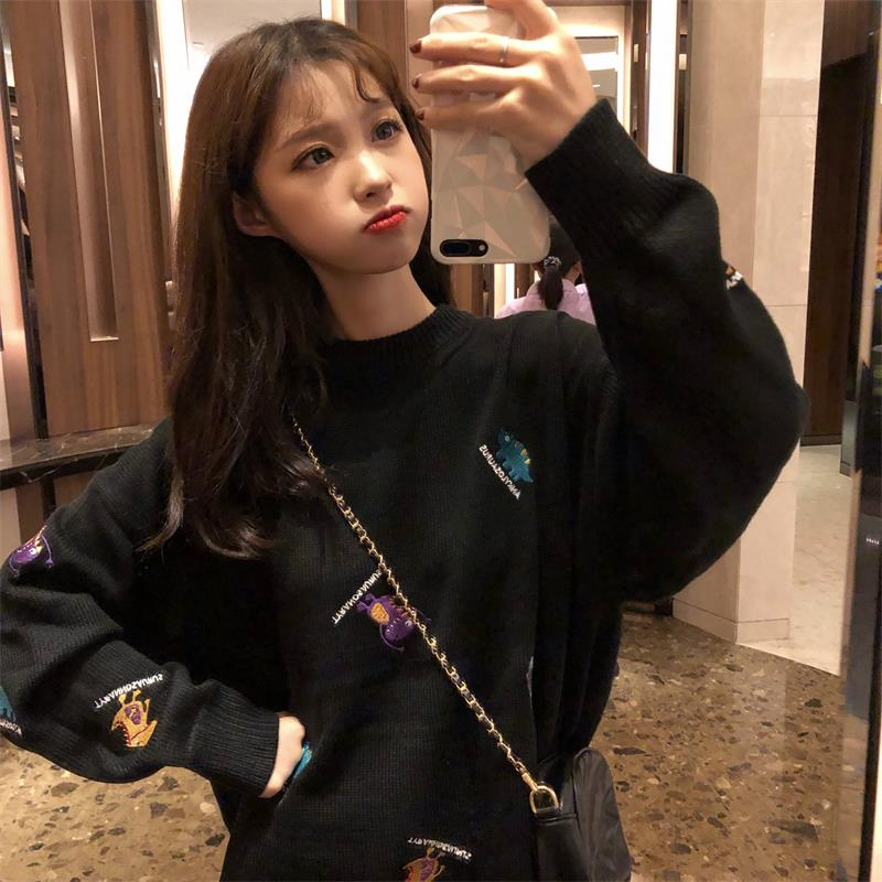 Women's Sweaters Japanese Kawaii Ulzzang Loose Embroidery Pullover Sweater Female Korean Harajuku Vintage Clothing For Women