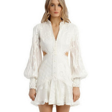 Hollow Out Sexy V-neck Mini Dress 2020 Spring Style Women Lace Embroidery Robe F