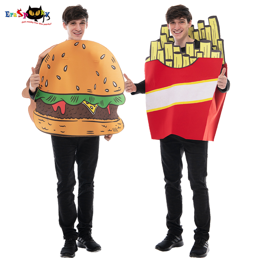 Eraspooky Unisex Funny Food Cosplay Adult Hamburger French Fries Chips Mascot Halloween Costume Women  Party Couple Fancy Dress