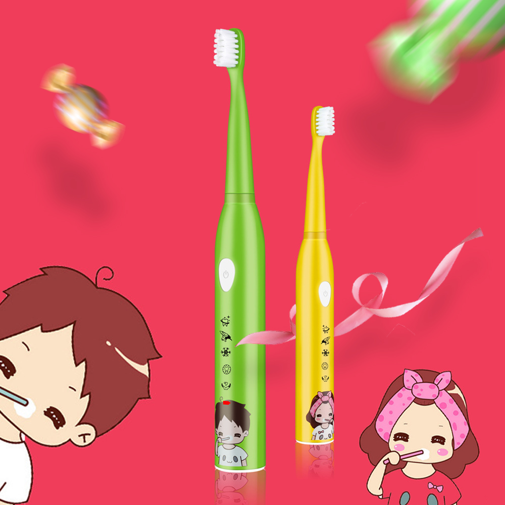 5 Modes Sonic Electric Toothbrush Children USB Rechargeable Cartoon Waterproo Teeth Tooth Brush With 4 Replacement Heads For Kid