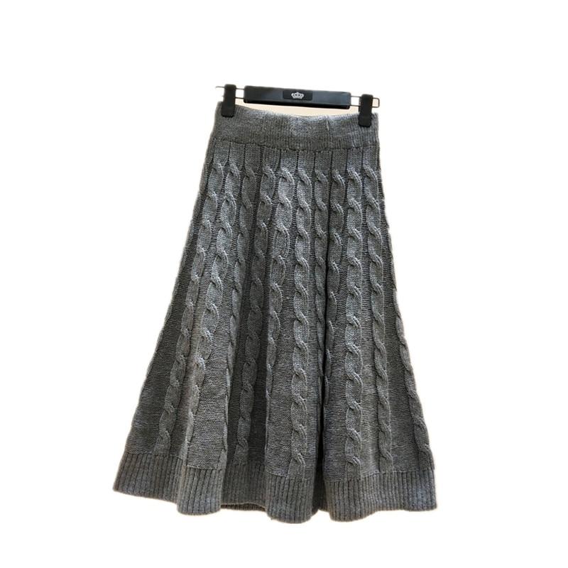 Streetwear Long Skrits Plus Size Elastic Long Skirt Fashion Autumn 2019 Knitted Skirts Beige Elegant Women Winter Long Skirts