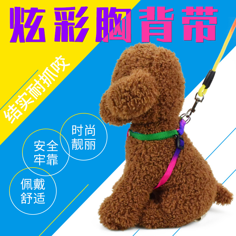 Round Rope + Colorful Chest And Back Pet Traction Rope Chest And Back Set Of Small Large Dog Chain Dog Traction Rope Telescopic