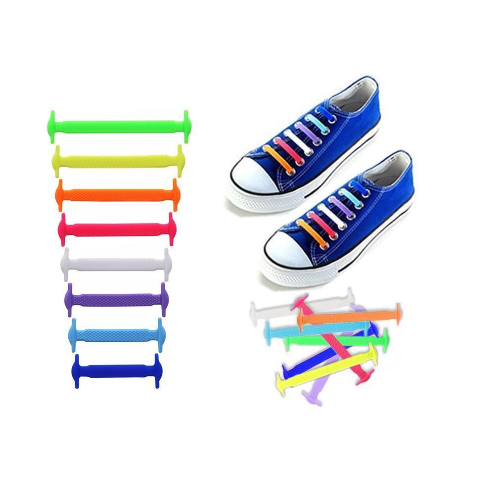 16pcs/lot Silicone Shoelace Men Women Children Solid Casual Canves Shoes Accessories Rubber Lace Lazy Elastic No Tie Shoelaces