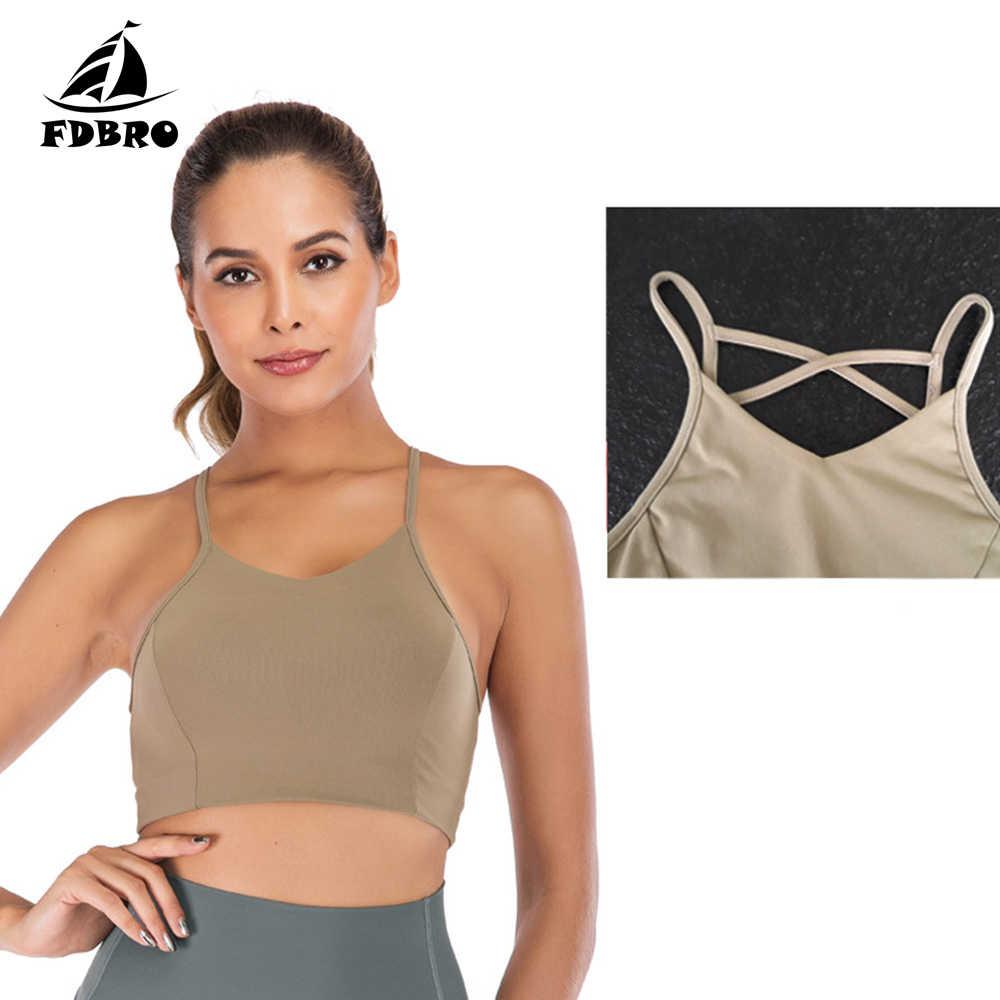 FDBRO Women Sport Underwear Shockproof Gather Yoga Bra Beauty Back Bra Fitness No Steel Ring Thin Shoulder Strap Sports Bra
