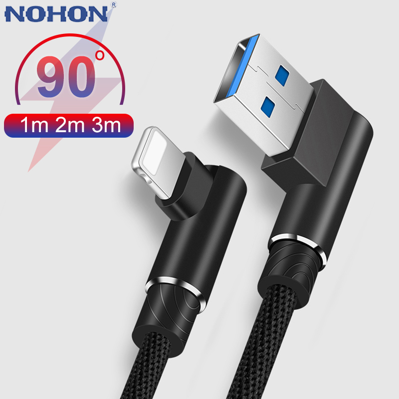 90 Degree USB Fast Charge Cable For iPhone X Xs Max XR 8 7 6 6S Plus 5 5S SE iPad L Type Charger Origin Accessory Cord Wire 2 3m-in Mobile Phone Cables from Cellphones & Telecommunications on AliExpress