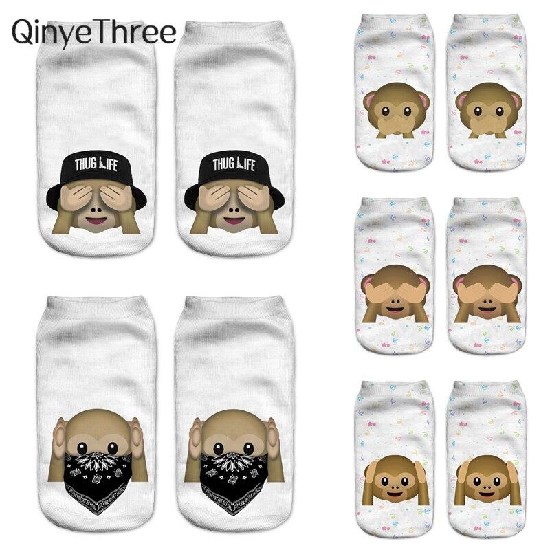 Fahion Cute 3D Printing Socks Cool Monkey Sox Women Socks Chaussette Animal Funny 3D Printed Ankle Sock Unisex Art Socks