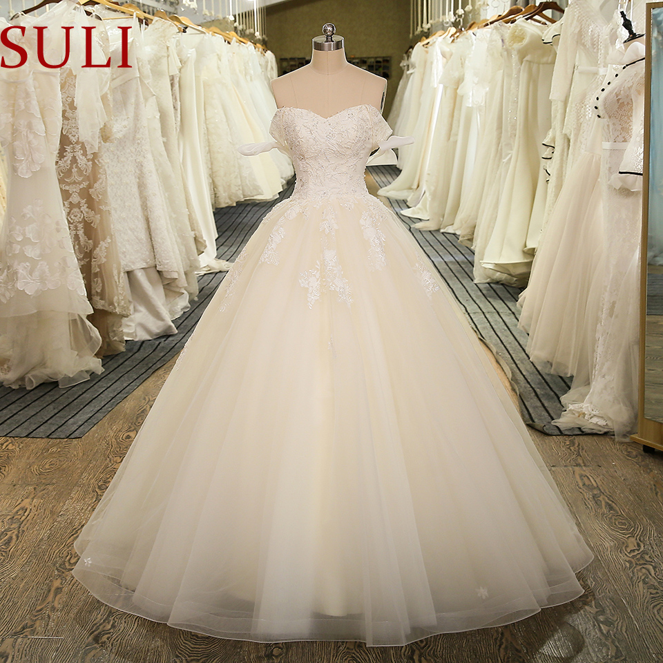 SL-5024 New Arrival Off The Shoulder Bridal Gown Tulle Lace Appliques Vintage Ball Gown Wedding Dress 2020(China)
