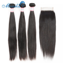 Moxika Peruvian Straight Hair Weave Bundles With Closure 3 Human Lace Baby Remy