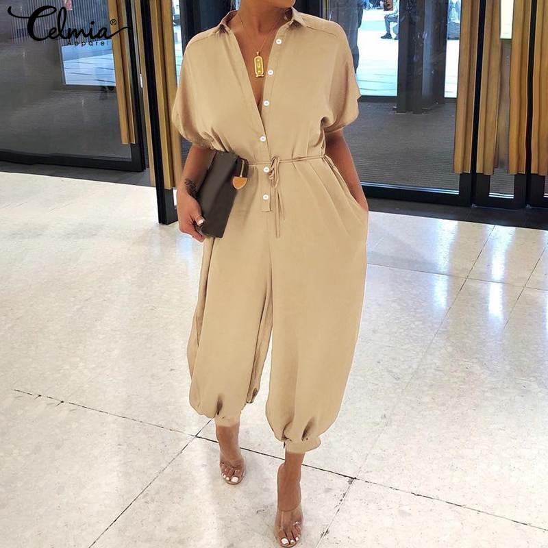 Women Jumpsutis Celmia 2020 Fashion Harem Pants Casual Loose Buttons Rompers Short Sleeve Cargo Pants Plus Size Overalls Femme 7