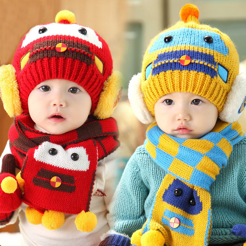2019 New Wool Knitting Ball Soft Cap Scarf Set Baby Cute Car Pattern Print Funny Hat Autumn Winter Ear Protecting