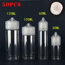 50pcs 30ml/60ml/100ml/120ml PET פלסטיק טפטפת דואר נוזל העין ברור מים בקבוקי ארוך טיפ כובע מיץ שמן Vape עט בקבוק