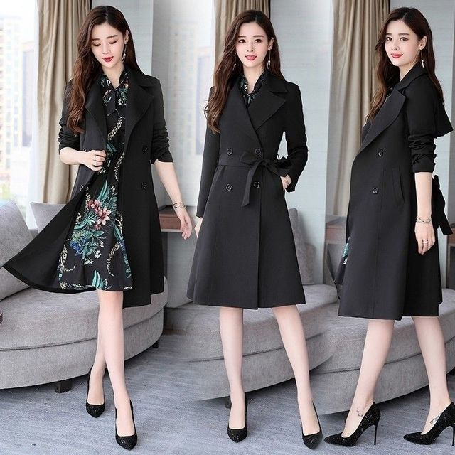 Spring Autumn Trench Coat Slim OL Ladies Trench Coat Women Dress Women Windbreakers Plus Size Two Pieces Women Sets Trench Coats 3