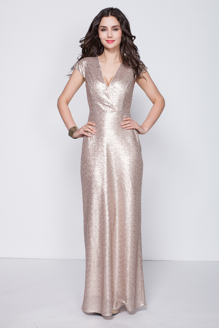 CK346 New Style Foreign Trade Encryption Sequin-Short Sleeve V-neck Long Evening Gown Europe And America WOMEN'S Dress Bridesmai