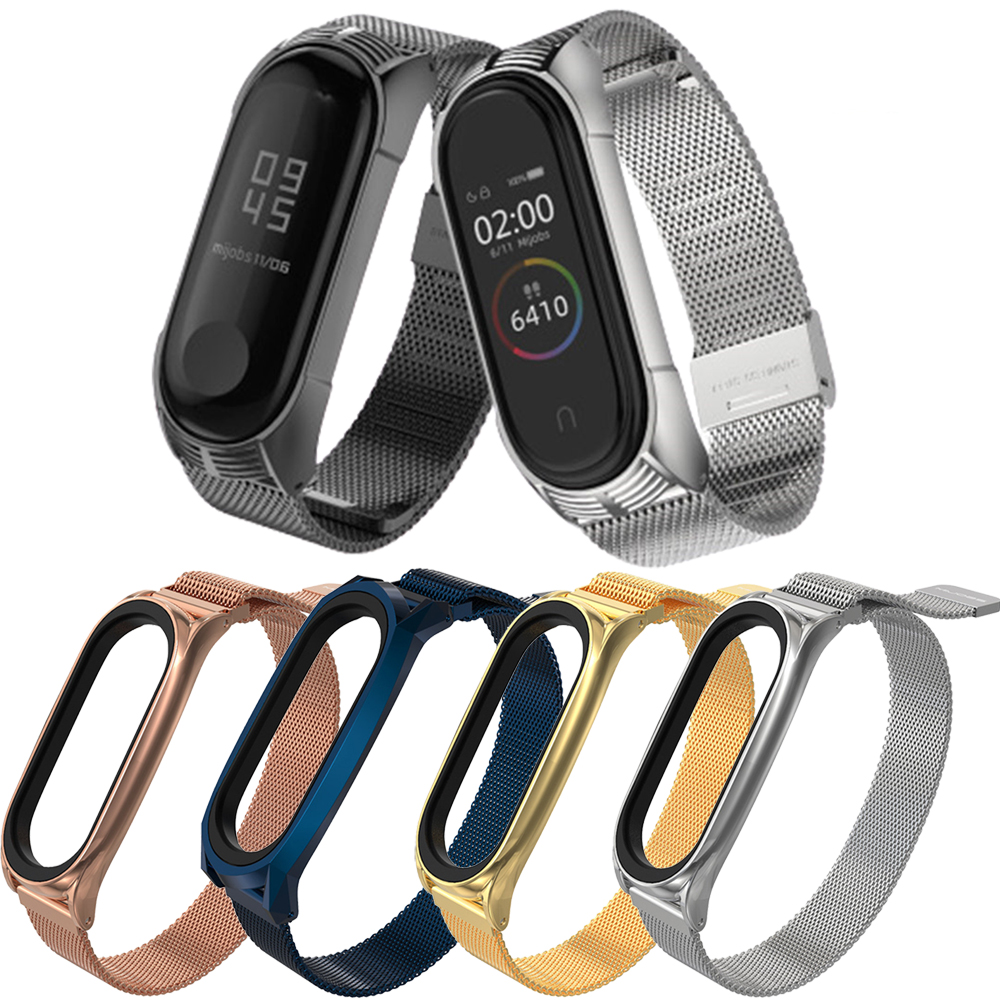 milanese strap for mi band 5 bands metal stainless steel smart wearbale accessories for xiaomi mi band 3 4 5 gobal version NFC image