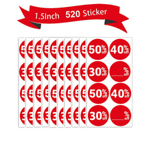 520 Pcs Sale Off Stickers 50% 40% 30% Blank% 1.5 inch Price Percent Labels Discount Deals Circle Pricemark