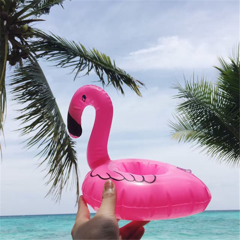 Mini Inflatable Flamingo Water Swimming Pool Drink Cup Stand Holder Float Toy Coasters For Water Beverage Beer Bottle  20x17cm