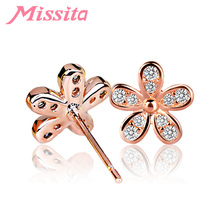 MISSITA Romantic Rose Gold Daisy Flower Earrings For Women with Cubic Zirconia Brand Stud Party Gift Hot Sale
