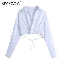 KPYTOMOA-blusas blancas con lazo para mujer, blusas sexys Crossover Vintage con cuello de pico, blusas de manga larga para mujer 2021